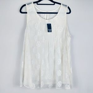 Torrid White/Ivory Boho Embroidered Top Size 2X